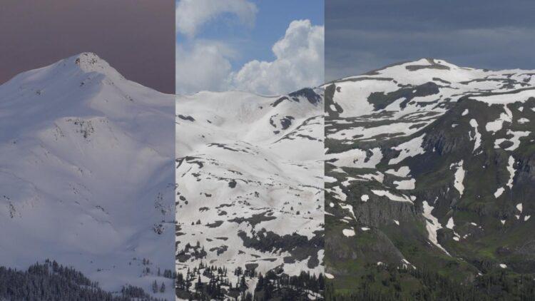 Fotos combinadas da bacia do senador Beck nas montanhas do Colorado San Juan durante os meses cada vez mais quentes. (Jeffrey Deems / CIRES e Matthew Kennedy / CU Boulder Extreme Ice Survey)