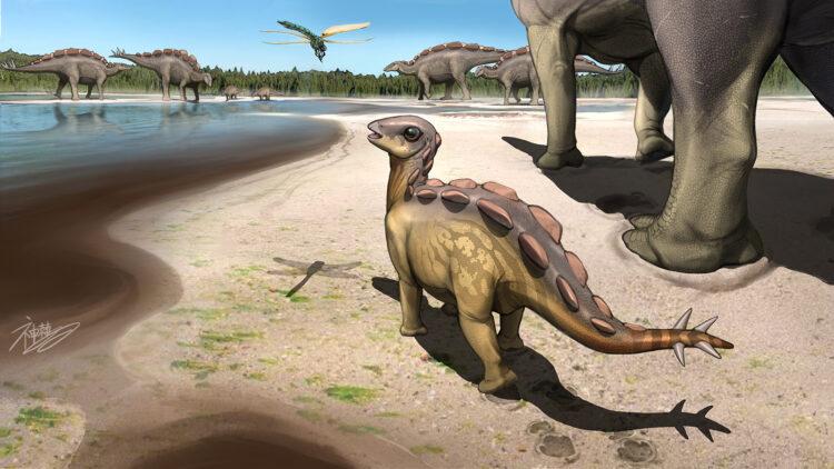 Paleontógos encontraram a menor pegada de um estegossauro já registrada. Imagem: Kaitoge