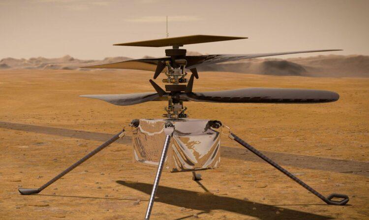 Concepção artística do veículo voador Ingenuity da Mars2020