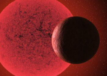 Impressão artística da superterra em órbita da estrela anã vermelha GJ-740. Imagem: Gabriel Pérez Díaz/SMM (IAC).