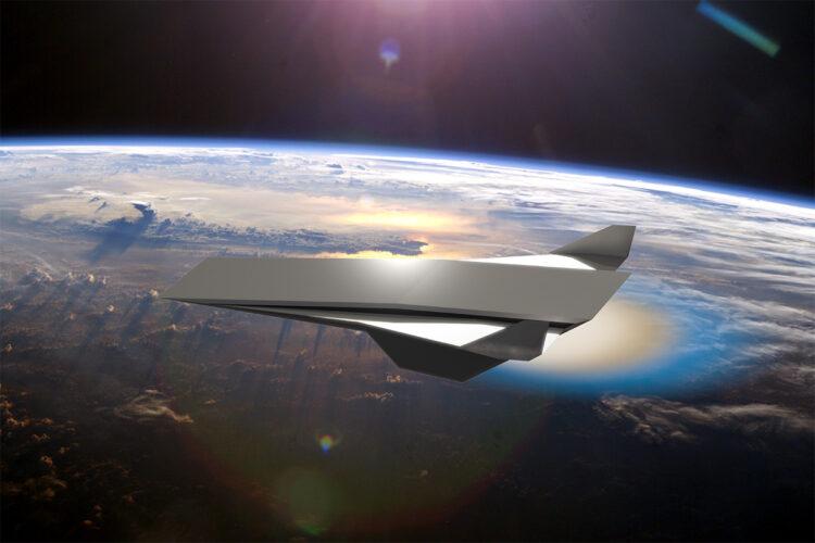 Uma aeronave hipersônica conceitual, movida por um motor de onda de detonação oblíqua, é retratada. Imagem: NASA/Daniel Rosato/UCF
