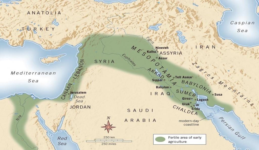 O berço da civilização, conhecido como Crescente Fértil, é uma área do Mediterrâneo oriental centrada nos vales dos rios Nilo, Tigre e Eufrates.