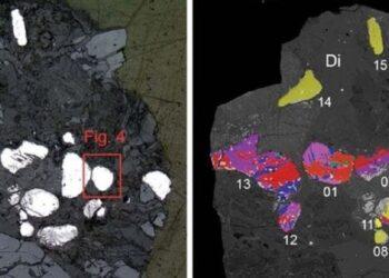 Pesquisadores estão tentando entender como este mineral raro foi parar na bacia do Mar Morto. Imagem: Mineralogical Society of America