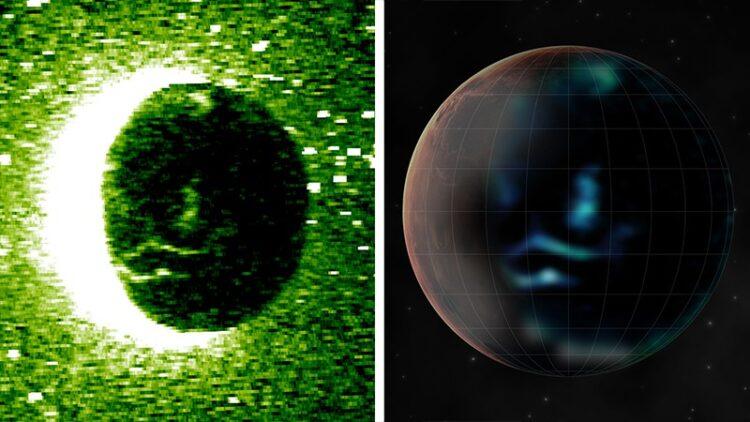 As primeiras imagens nítidas de auroras em Marte acabam de ser registradas. Imagem: Emirates Mars Mission