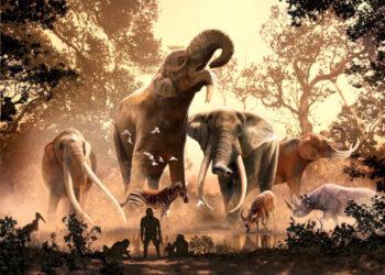 Uma nova pesquisa mostra que a caça pode não ter sido o motivo principal da extinção dos ancestrais dos elefantes. Imagem: Julius Csotonyi.