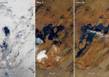 Progressão do fluxo de lava do vulcão Fagradalsfjall de março, maio e junho de 2021. Imagem: NASA
