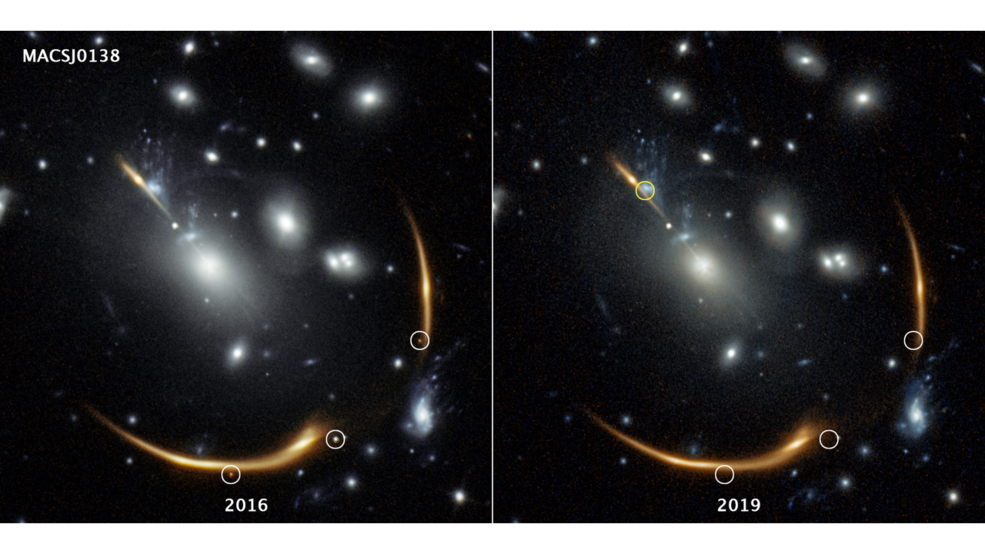 supernova distorcida por lente gravitacional