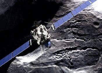 Ilustração da sonda Rosetta. Imagem: Divulgação/ESA